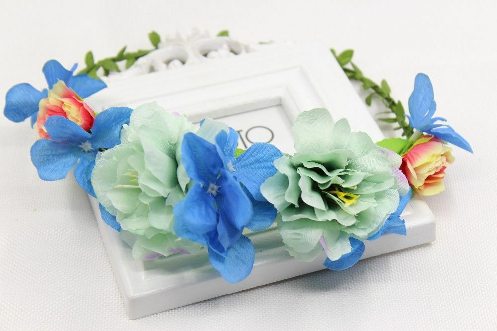 Festival Hairband Mint Green Turquoise Blue Pink Flowers Crown Hair Communion