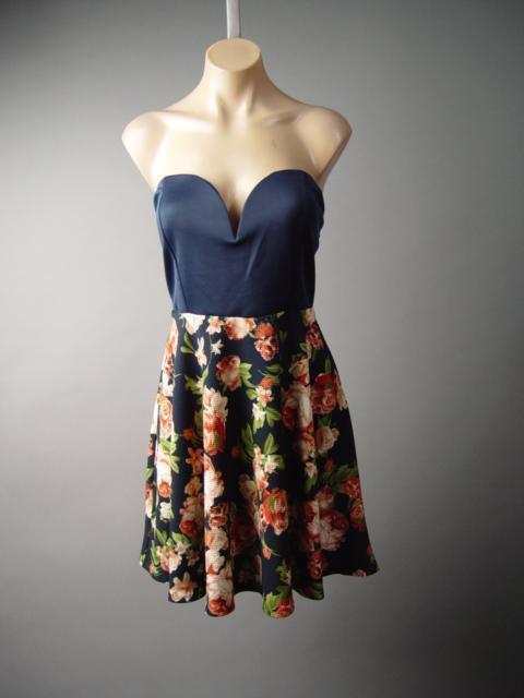 Low-Cut Sweetheart Bustier Floral Flare Full Skirt Party 135 mv Dress XL 2X 3XL