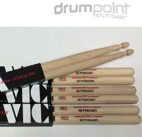 6 Paar 5B Vic Firth VF5BPG Pure Grit Sticks unlackiert American Classic Hickory