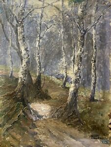 Forest-LANDSCAPE-WITH-BIRCH-send-signed-Nature-Painting-Impressionist-21-7-x-16-5