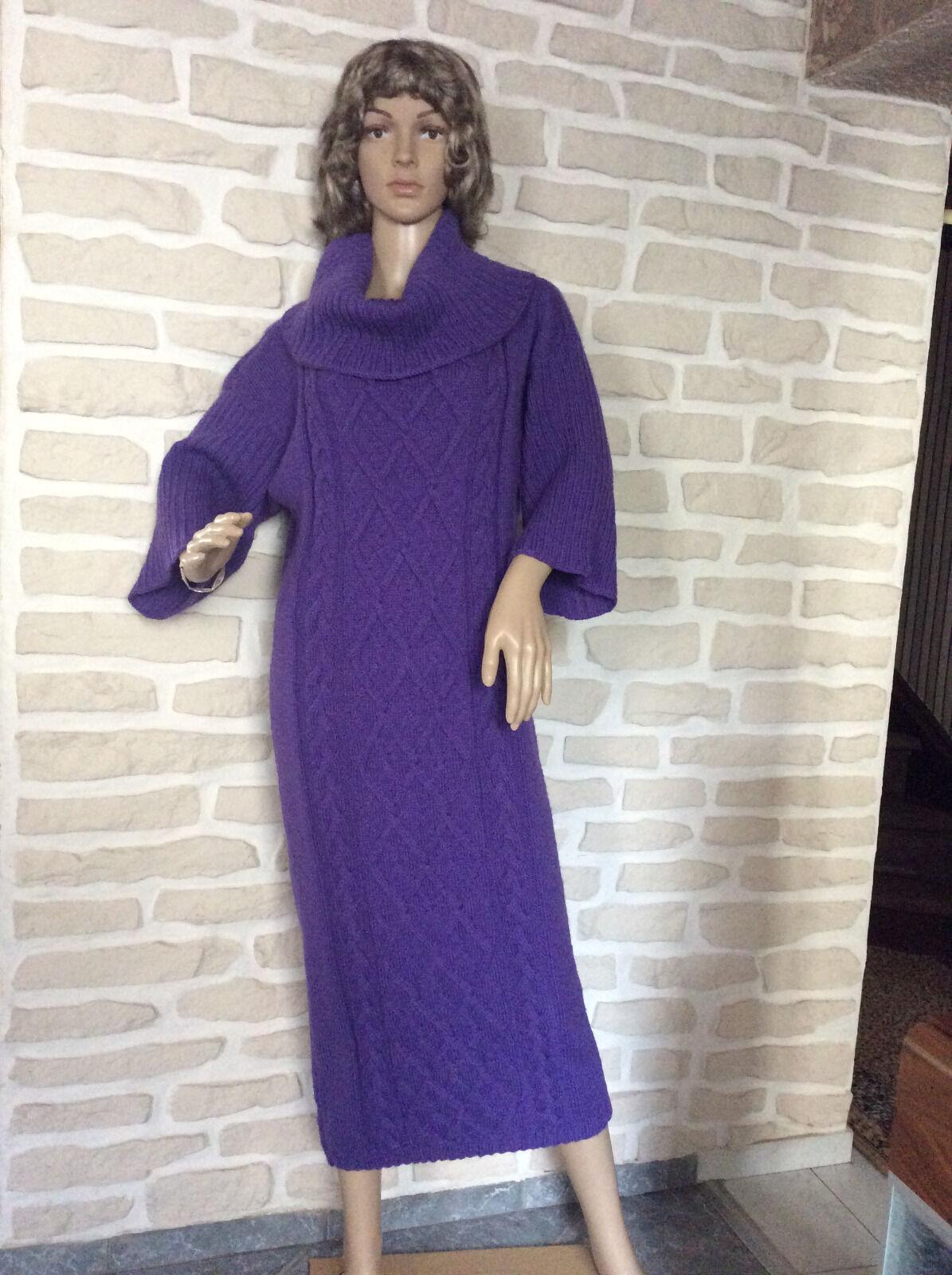Damenkleid Strickkleid Lila Wolle Größe 42-44 L XL Neu 100% Handarbeit