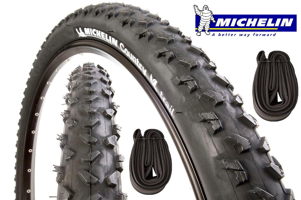 2 Pneus Bicicleta de Montaña + 2 Aire Michelin Country Rastro 26 X 2.00 MTB