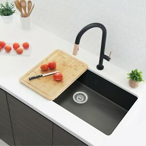 STYLISH 30in Graphite Black Single Bowl Undermount Stainless Steel Kitchen Sink