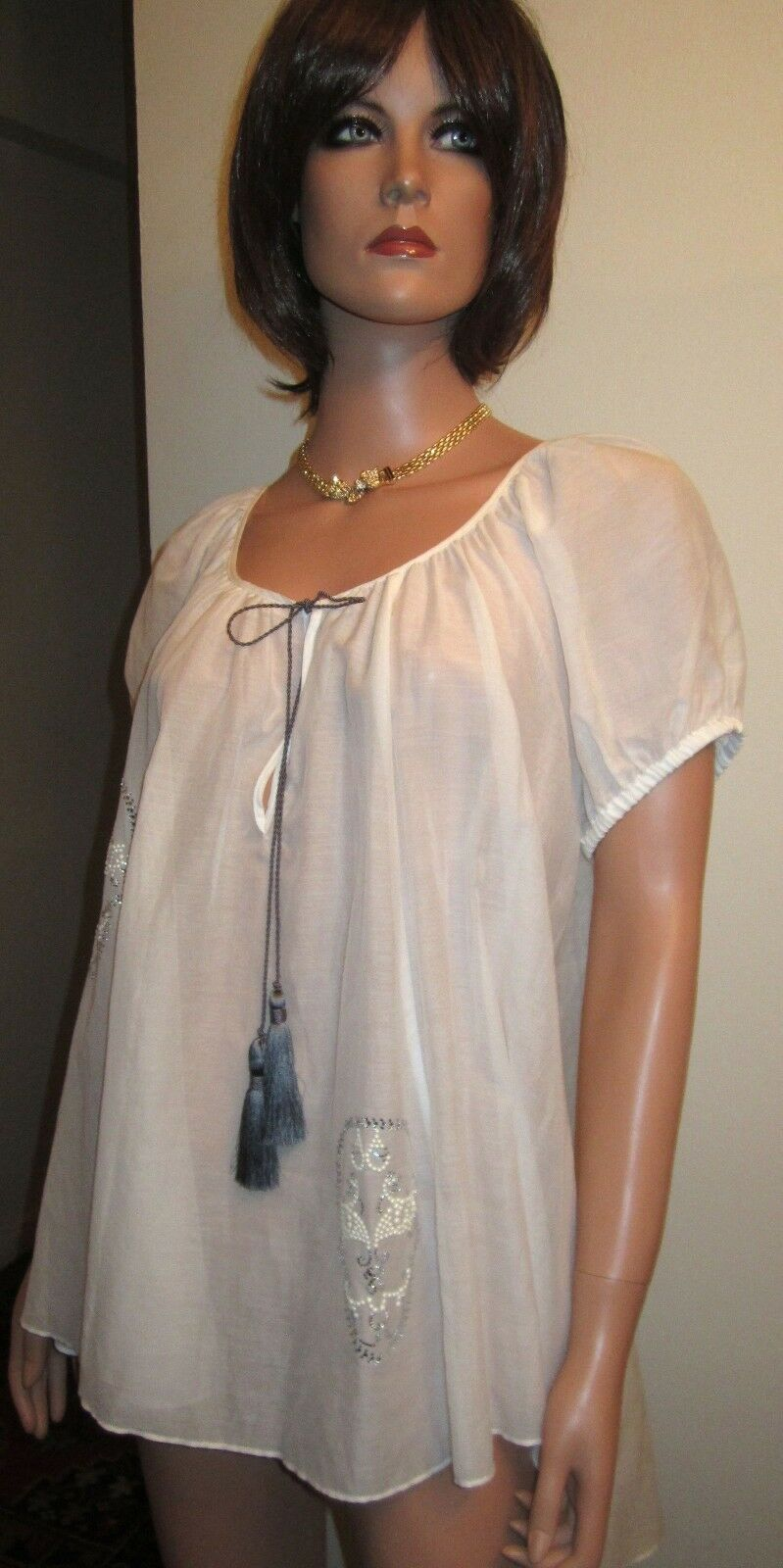 New Thomas Wylde S Hi Lo Tunic Crystal Bead Skull Cotton/Silk Weiß Peasant Top