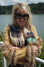 NWT DESIGNER ADAM JONES Mink Fur Jacket Fox Coat Bolero XS S #866A WOW!