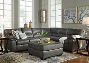 Details about Modern Gray Microfiber Living Room Set Sofa Couch Ottoman  Large Sectional IG1R