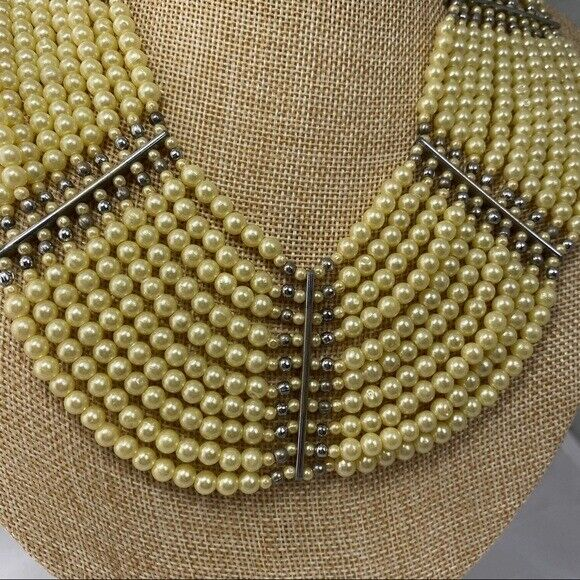 Vintage synthetic Pearl bib style necklace multi … - image 2