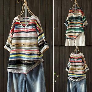 Mode-Femme-Manche-Courte-Bande-Decontracte-lache-Col-V-Stripe-Shirt-Haut-Plus