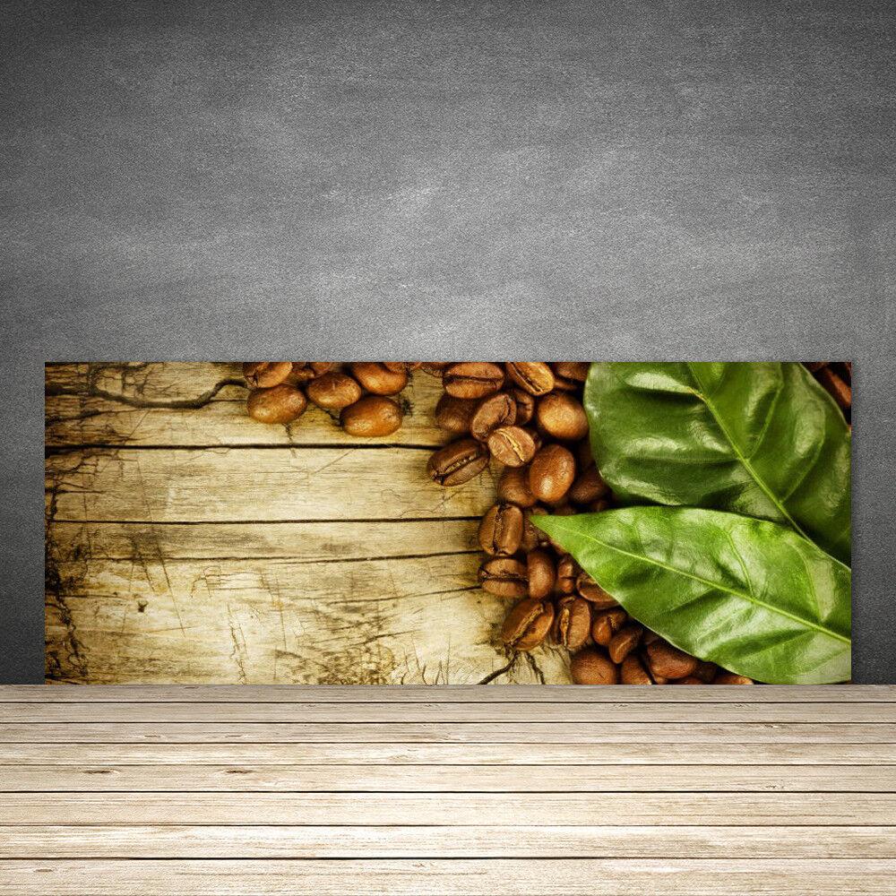 Crédence de cuisine en verre Panneau 125x50 Cuisine Café En Grains Feuilles