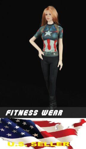 1//6 Femelle T-shirt graphique Captain America Fitness Wear avec legging PHICEN KUMIK USA