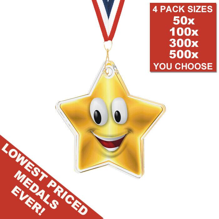 Confezione da 50x stampato in acrilico 35mm oro Star FACE Medaglie & Nastri, Scuola Bambini