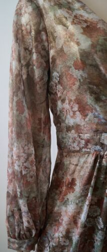 Dress Cream Pleated Floral V Bnwt Maxi Brown Ghost M Neck amp; Pattern Long Sleeve q4xq1Pw