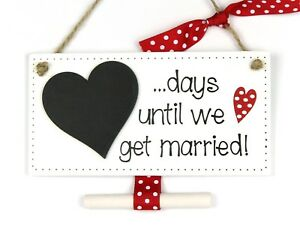 Countdown to Wedding Chalkboard Plaque Sign Engagement Gift Days until Married
