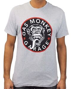 Gas-Monkey-Garage-Logo-Grey-Heather-Men-039-s-T-Shirt-New