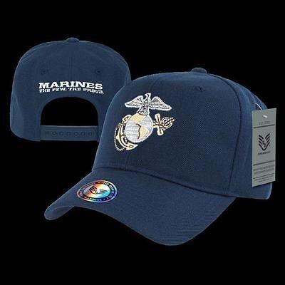 US Military Marines Blue Metallic Baseball Cap Ball USMC Hat Rapdom S013