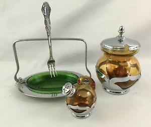 Vintage Farber Frères Art Déco métal chromé et verre condiment serveurs Lot