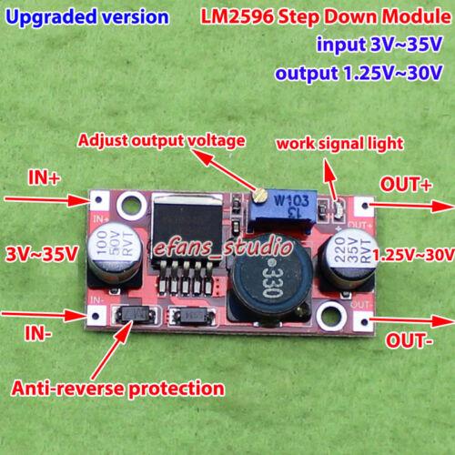 Upgraded LM2596 DC-DC Buck Step Down Adjustable Converter 3V-35V to 1.25-30V 3A