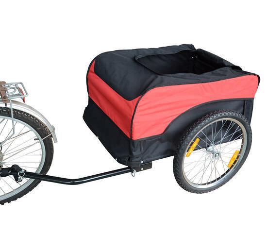 20 Zoll Lastenanhänger Transportanhänger Fahrrad Anhänger Rot/Schwarz