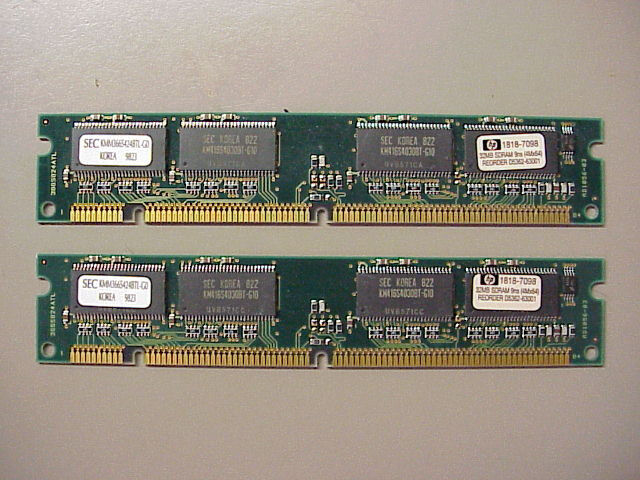 1 Pair of Samsung KMM366S424BTL-G0 SDRAM 32MB PC-66 Non ECC 66Mhz DIMM Memory