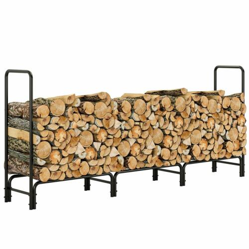 Outdoor Heavy Duty Steel Firewood Log Stacking Rack Wood Storage Holder Black