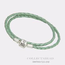 Authentic Pandora Silver Double Green Braided Leather 16.1 Bracelet 590705CLG-D3