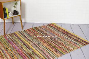 Handmade Rag Rug Chindi Yellow Color