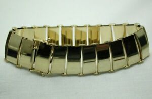 Lovely-Heavy-Quality-9-Carat-Gold-Plain-Broad-Link-Bracelet