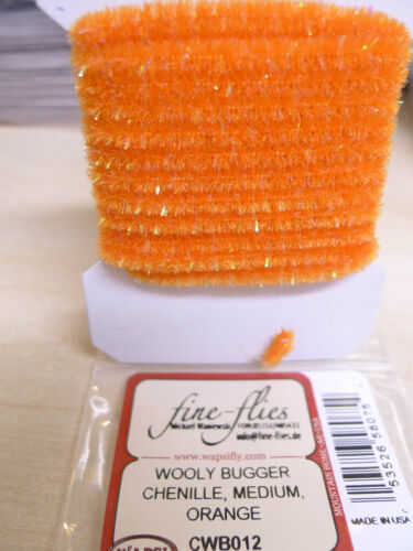 pearl glitzer Wooly Bugger Chenille MEDIUM Wapsi USA orange