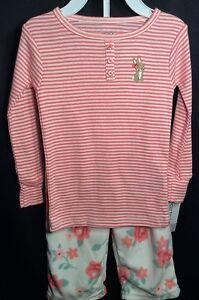 32babc7e9 NWT Toddler Girls Carter's Easter Bunny Pajamas 2T Roses 2pc Fleece ...