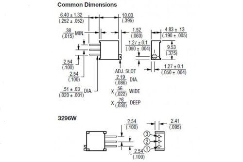 200pcs 3296W 104 100K Ohm Trimpot Trimmer Potentiometer Variable Resistor 25Turn