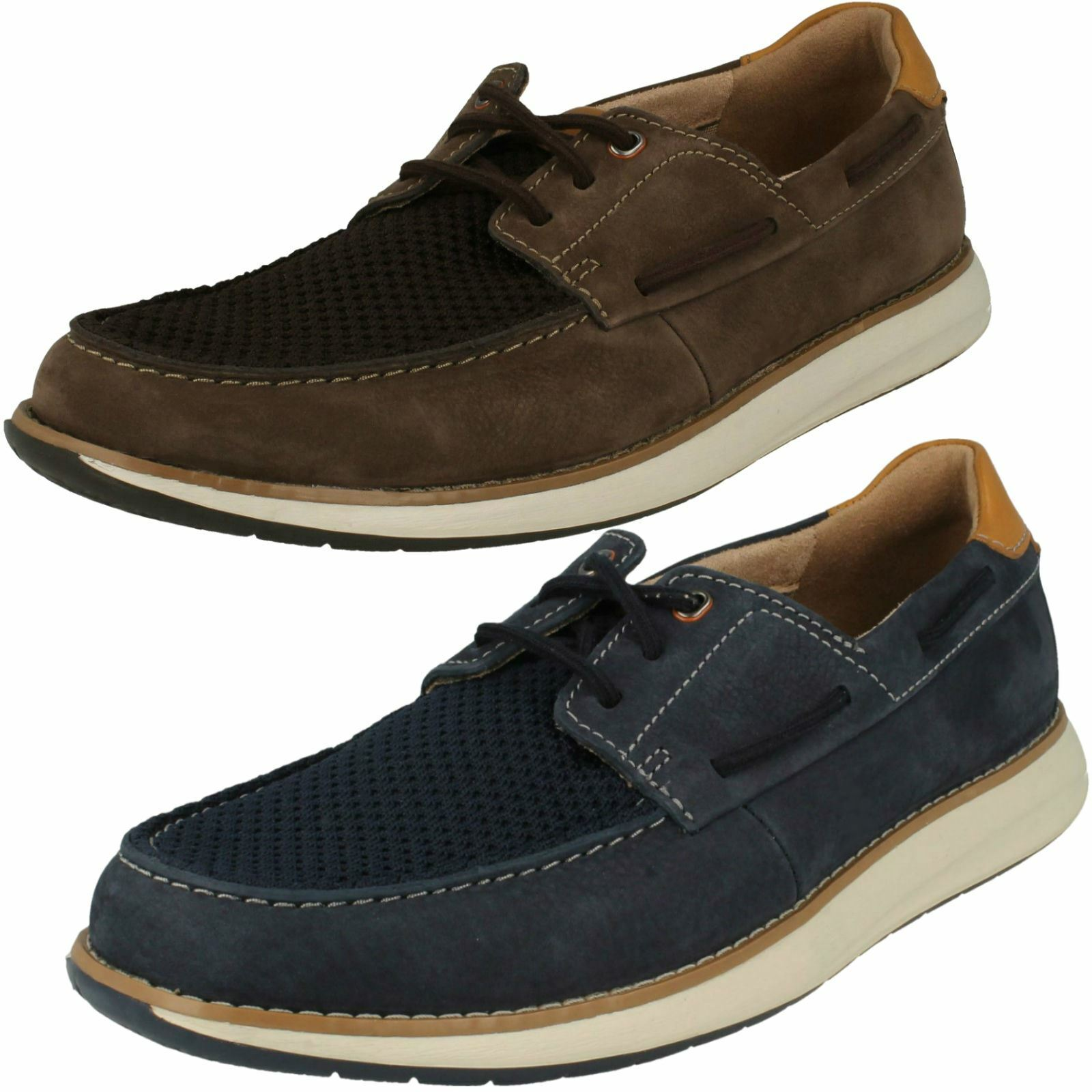 Mens Clarks Unstructured Lace Up Leather & Textile Deck shoes Un Pilot Lace