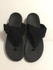 Revitalign RX Size 11 Slide Sandals Black T-Strap Sparkle Flip Flops