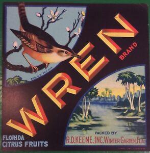 WREN Florida CITRUS CRATE Label Original 7x7