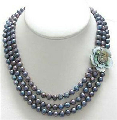 Beautiful 3Strds 6-7MM Black Akoya Cultured Pearl Necklace