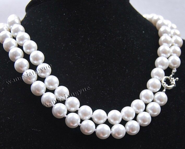 Long 36 inches 10mm White South Sea Shell Pearl Necklace AAA Grade, Gemstones