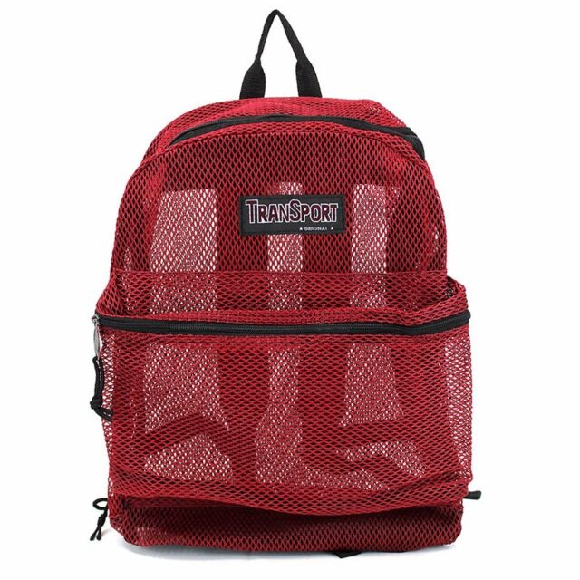 Red Clear See Through Mesh Backpack Book Bag Student Gym Travel Day