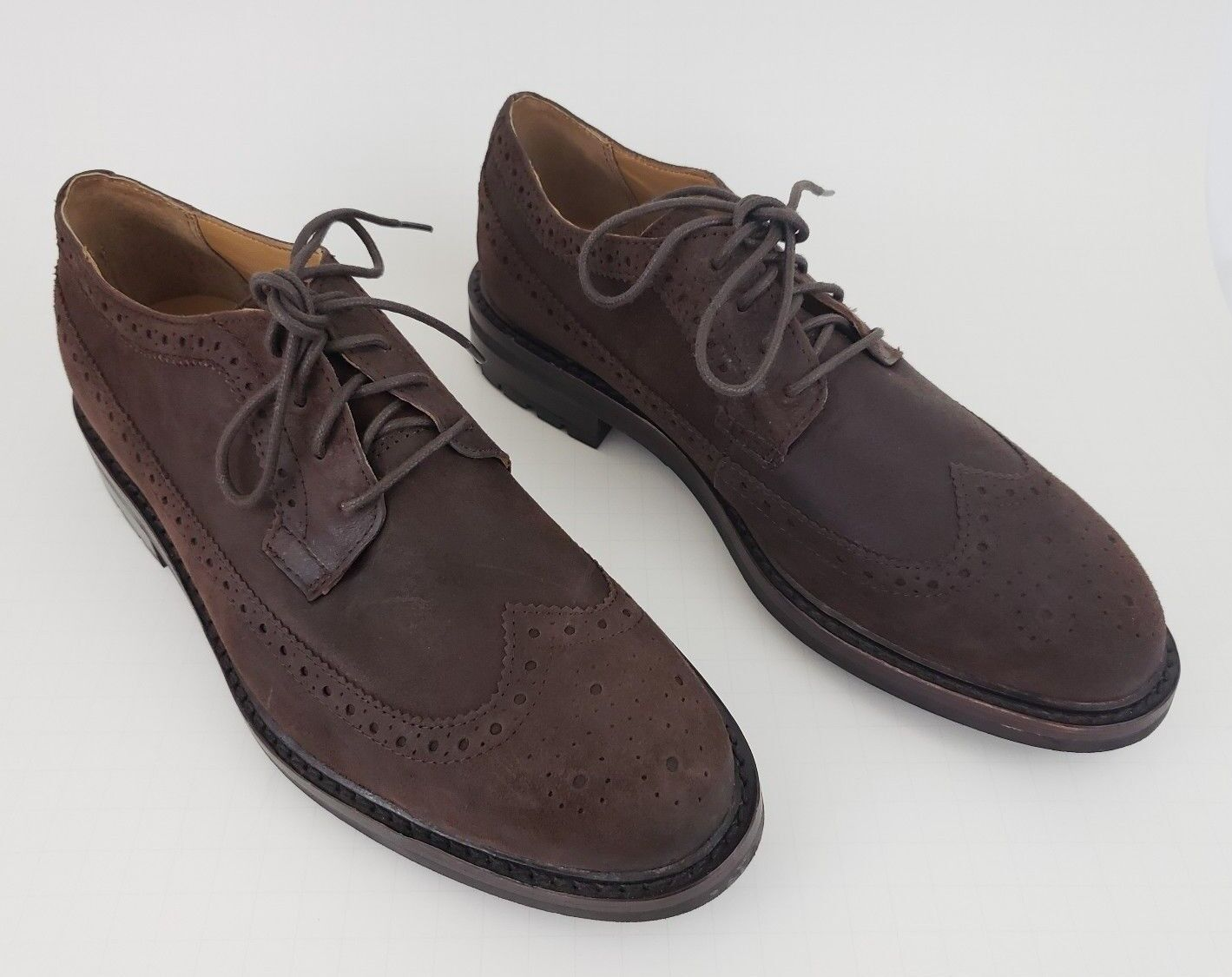 Polo Ralph Lauren Brogue Wingtip Oxfords Dress shoes Men's 8.5   9 Brown Suede