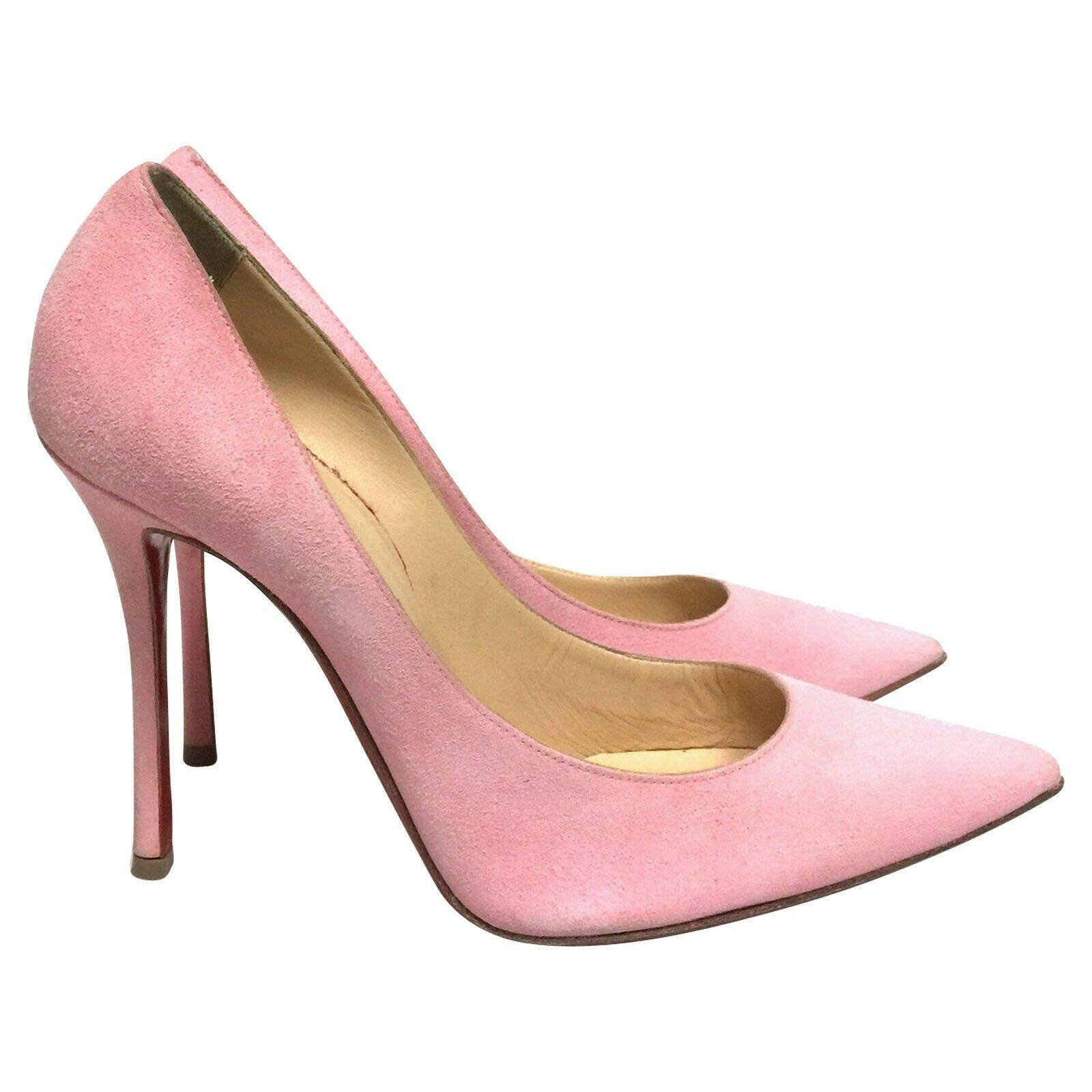 CHRISTIAN LOUBOUTIN Decoltish 100 Dolly Pink Suede Heels, size 38,5