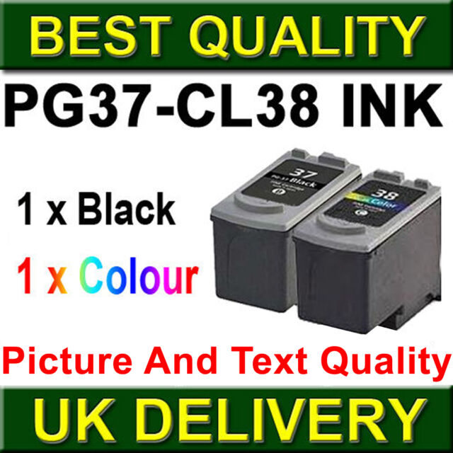 2 Ink Cartridge For Canon PG37 CL38 Pixma iP2500 iP2600 iP1800 iP1900 MP190
