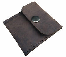 HAND MADE TRADITIONAL DISTRESSED THICK BROWN  LEATHER COIN TRAY PURSE WALLET