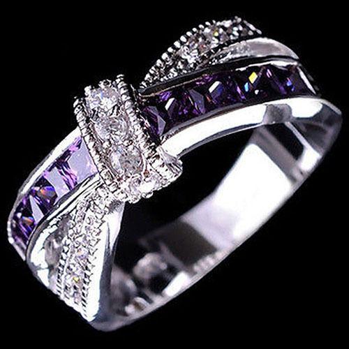 AU/_ Women/'s Fashion Silver Plated Purple Rings Zircon Wedding Bague Jewelry Modi