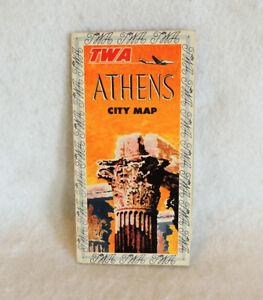Vintage-1950s-TWA-Airlines-Athens-Greece-City-Map-Travel-Brochure-Ephemera