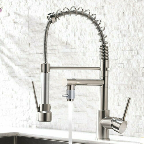 Commercial Stainless Steel Kitchen Sink Faucet Single Handle Pull Down Sprayer