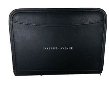 Saks Fifth Ave Company Logo Leeds Leather Zippered Padfolio Binder Notebook