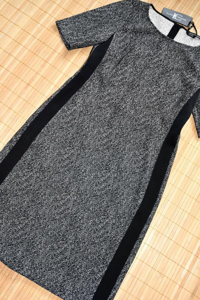 100% Vrai Luisa Cerano Magnifique étui Tweed Robe Taille 46 Neuve Noir & Blanc Fabrication Habile