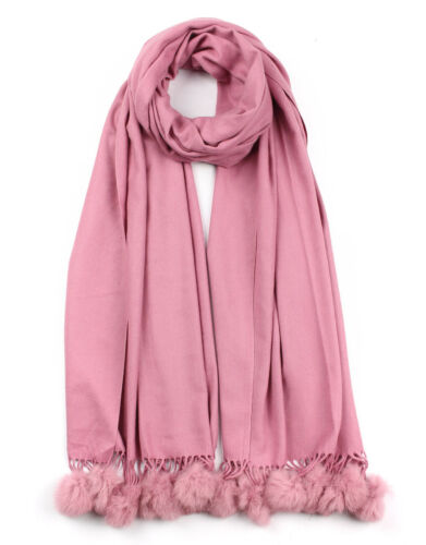New Ladies Soft Cashmere Plain Scarf with Real Fur Pompom