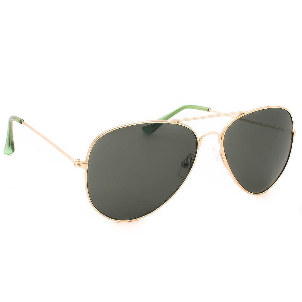 Classic Metal Rose Gold Frame Green Lens Unisex Pilot Sunglasses Aviation New