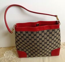 Auth Gucci GG Monogram Canvas Evening Shoulder Bag Purse with Red Leather Trim