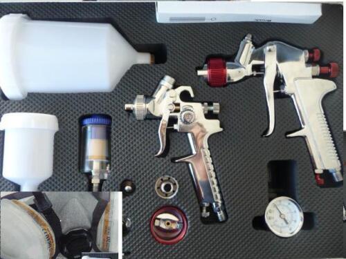 LAKIERMASKE Lack 2 x Lackierpistole 4 Düsensätze Lackierpistolen Koffer Set