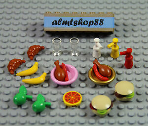 LEGO Accessories Minifigure Food lot of 20 Chef Pizza Apple Carrot Stew pot pan